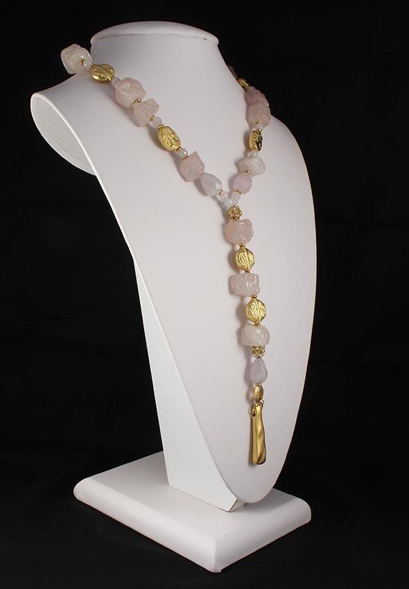 Natural Stone Chunky Raw Rose Quartz Necklace
