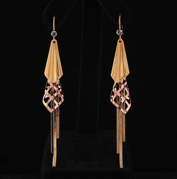 ROSE & GOLD PLATED PARTY DROP EARRINGS 10.77g