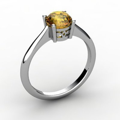 Citrine 0.70 ctw Ring 14kt White Gold