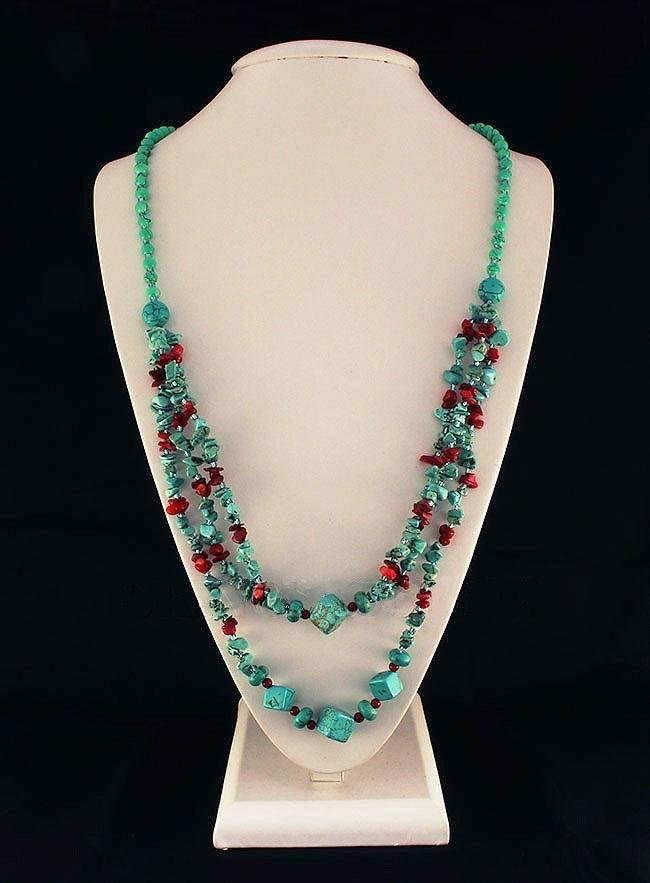 Gushing Sky Blue Turquoise 417.50ctw Beads Necklace