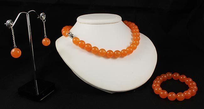 Handknotted Hot Orange Jade Necklace Set Jewelry