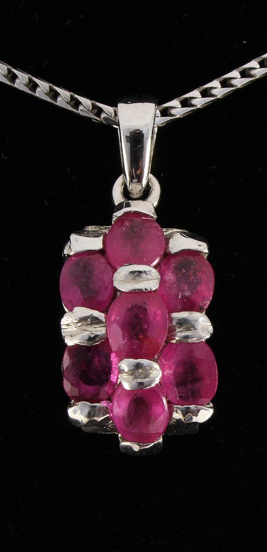 3.50ctw Pink Ruby Sterling Silver Cluster Pendant 2.35g