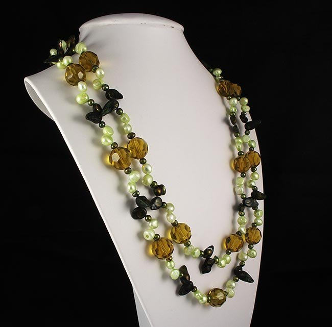 Freshwater Pearl & Bold Round Crystal Long Necklace