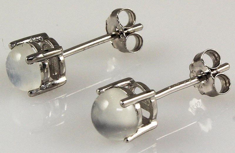 Moonstone Gemstone 1.30ctw Silver Stud Earring 0.64g
