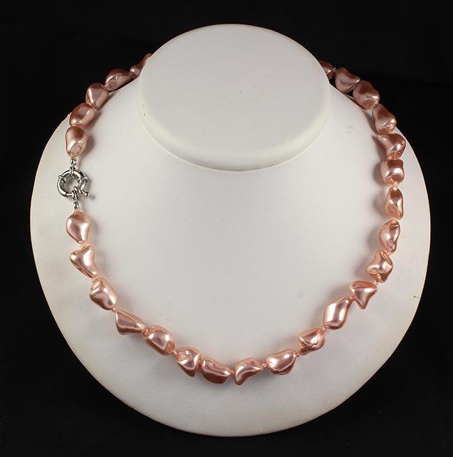 Keshi Pinky Pink Pearl Handmade Necklace