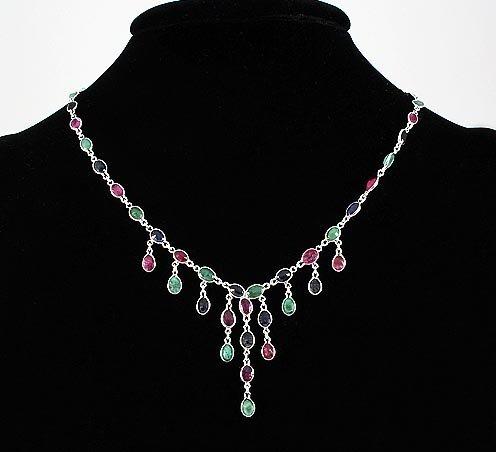 New Design Multi-color 23.04CT Dangles Silver Necklace