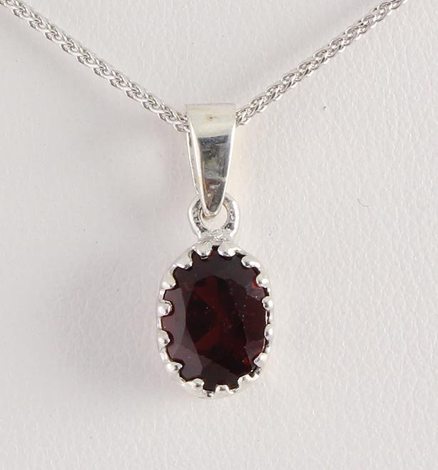 Sterling Silver Prong Set Pendant with Garnet Stone