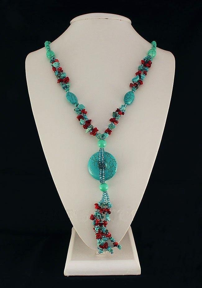 Gushing Sky Blue Turquoise 433.00ctw Beads Necklace