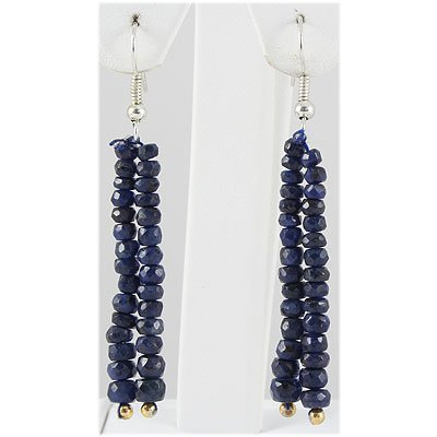31.57ct 2 Row Faceted Sapphire Silver Hook Earring