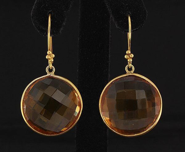 Natural Citrine 57.95ctw Gold Plated Brass Earring