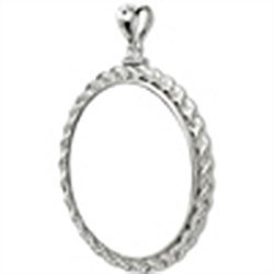 Sterling Silver Screw Top Rope Polished Coin Bezel - 38