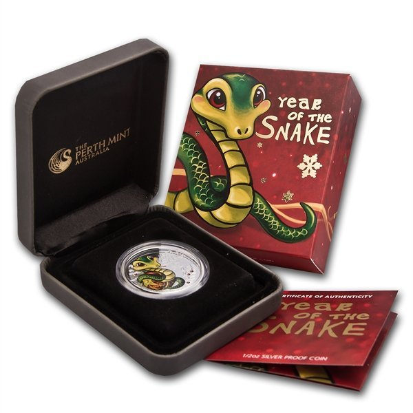 2013 Tuvalu Colorized Baby Snake 1/2 oz Silver Proof Co