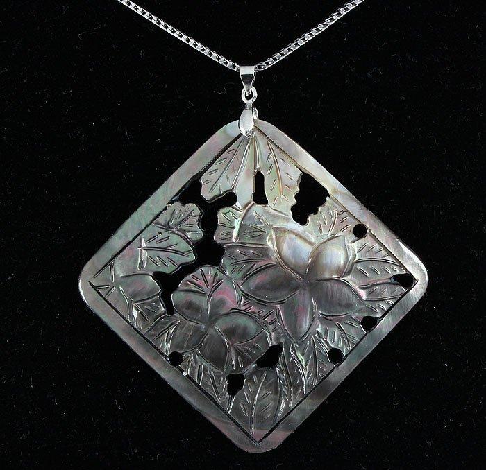 Semi Big 52.36ctw Mother Of Pearl Silver Pendant