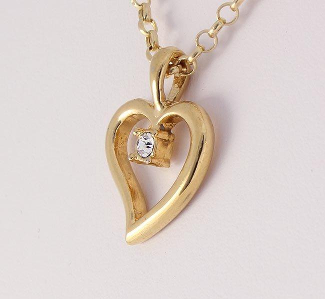 Cubic Zirconian Heart Pendant 1 Stone