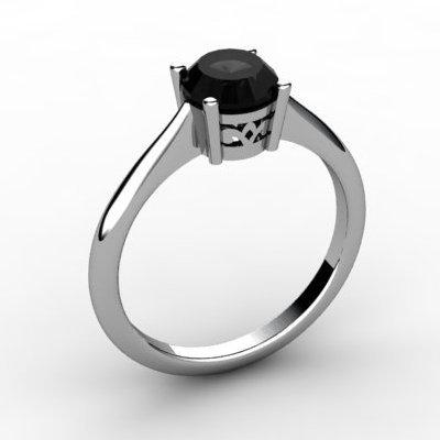 Black Diamond 0.85 ctw Ring 14kt White Gold