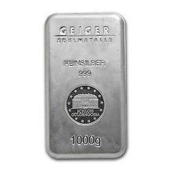 1000 gram Geiger Security Line Silver Bar (1 kilo)