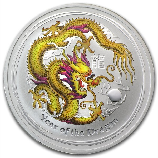2012 1 oz Silver Year of the Dragon Yellow Colorized Co
