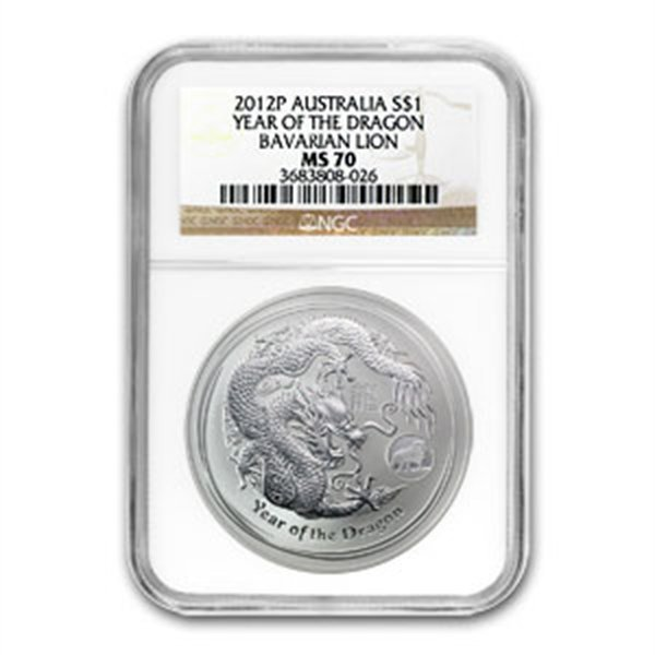 2012 1 oz Silver Year of the Dragon Coin (Lion Privy) N
