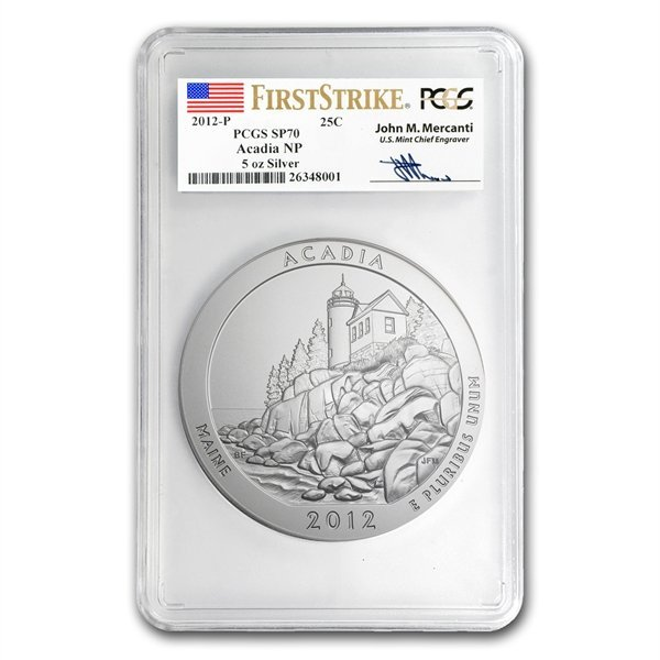 2012-P 5 oz Acadia SP-70 FS PCGS John Mercanti Label