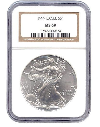 Certified Uncirculated Silver Eagle 1999 MS69