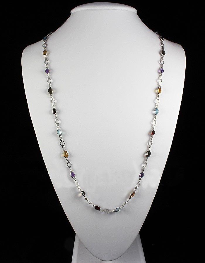 38.60CT Multi Precious Gemstone Silver Bezel Necklace 9