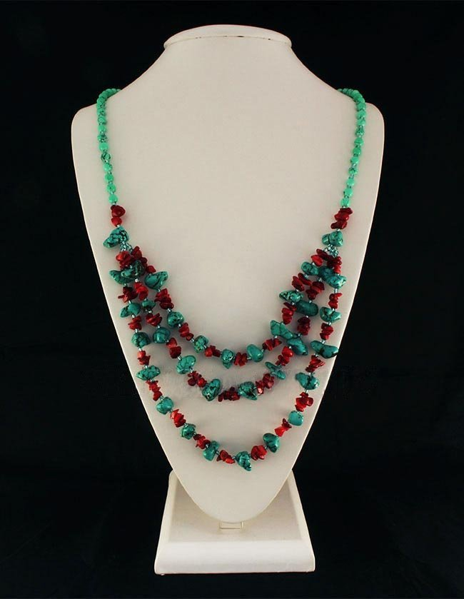 Gushing Sky Blue Turquoise 530.00ctw Beads Necklace