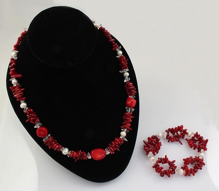 RED TURQUOISE&CORAL 306.36CTW NECKLACE&BREACELET SET
