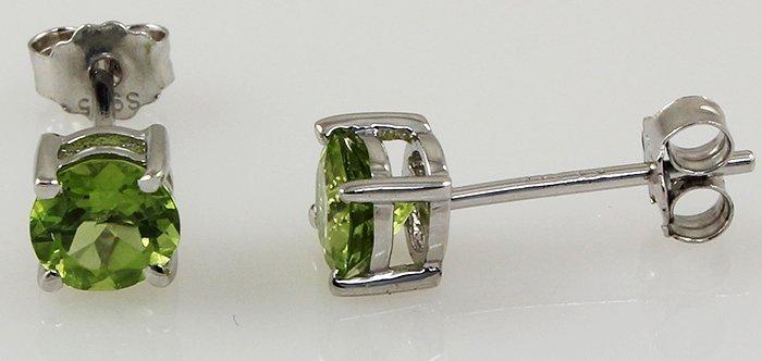 Peridot Gemstone 1.10ctw Silver Stud Earring 0.58g