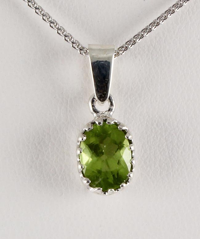 Sterling Silver Prong Set Pendant with Peridot