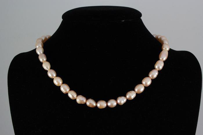"""212.10CTW 18"""" PEACH FRESHWATER PEARL NECKLACE METAL LOC"""