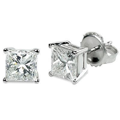 1.00 ctw Princess cut Diamond Stud Earrings G-H, VVS