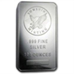 100 oz Sunshine Silver Bar .999 Fine (V2) First - 100 b
