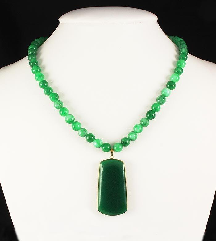 Green Jade Beaded Charm Necklace with Slab Jade Pendant
