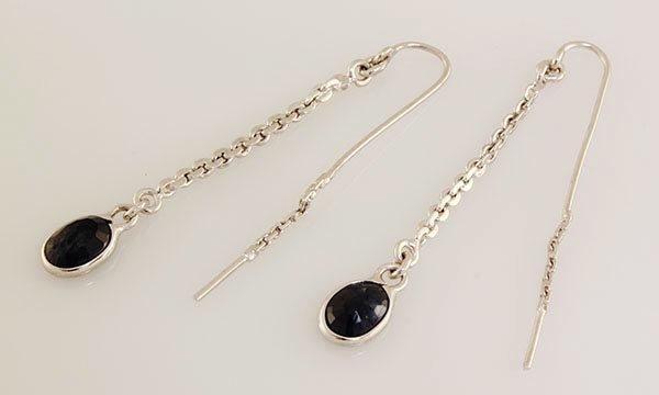 Sterling Silver Drop Dangle 9.05ctw Sapphire Earring