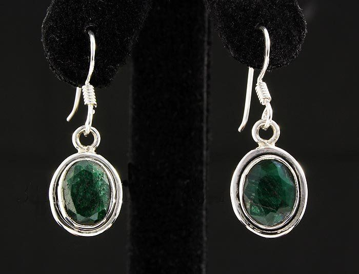 EMERALD BERYL 21.46CTW MINI SILVER HOOK EARRING