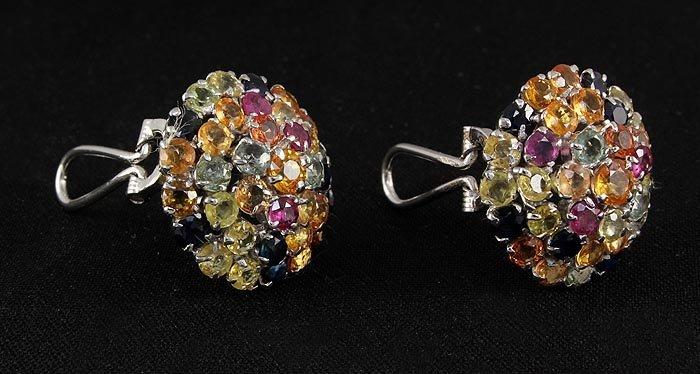 11.18ctw MultiColored Rhinestone Cluster Silver Earring