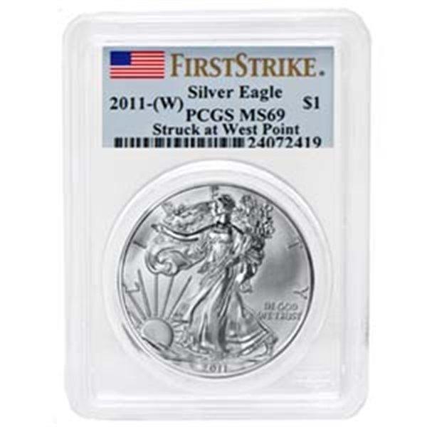 2011 (W) 1 oz Silver American Eagle MS-69 PCGS West Poi