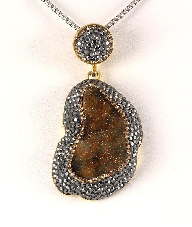 Geode Druzy Natural Stone Pendant Victorian Design