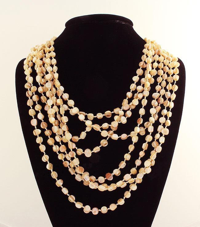 896CTW GOLDEN WHITE 8 ROW MOTHER OF PEARL NECKLACE