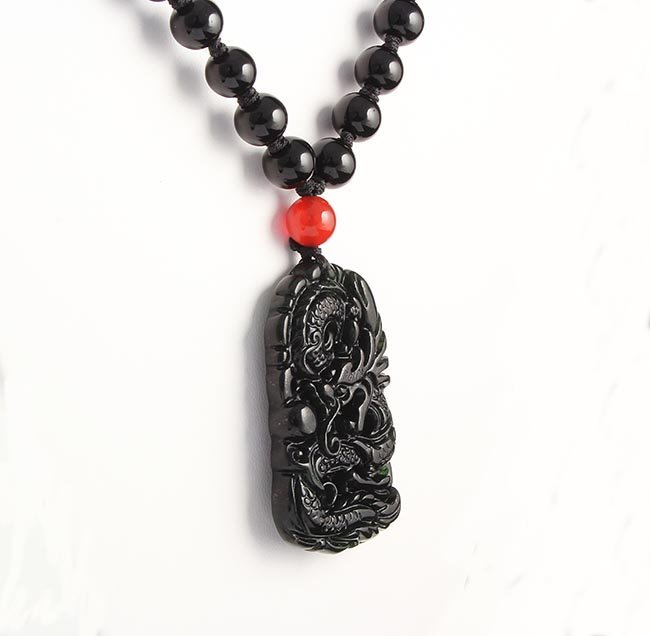 Jade Snake Dragon Necklace with Black Agate Beads