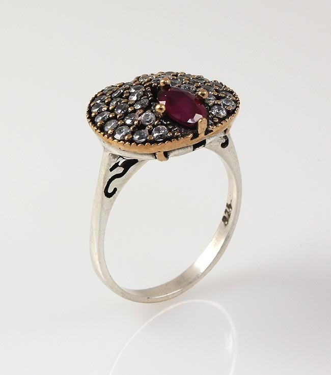 Natural Stone Statement Victorian Design Ring