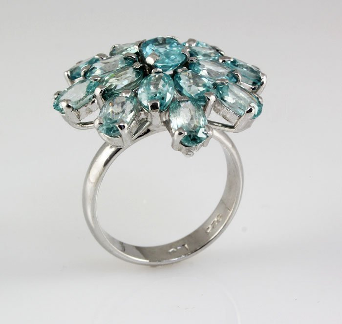 40.90CTW Flower Blue Zircon Cluster Silver Ring
