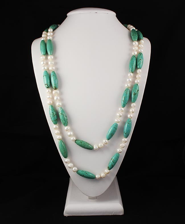 Knotted Turquoise and Pearl Long Necklace