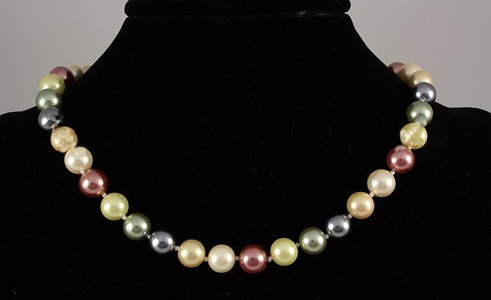 311.00CTW Multi Color Thread Freshwater Pearl Necklace