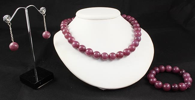 Handknotted Purple Berry Jade Necklace Set Jewelry