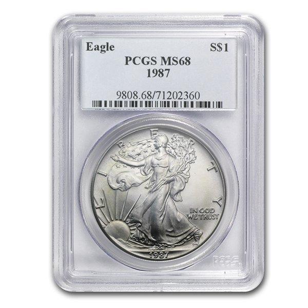 1987 1 oz Silver American Eagle MS-68 PCGS