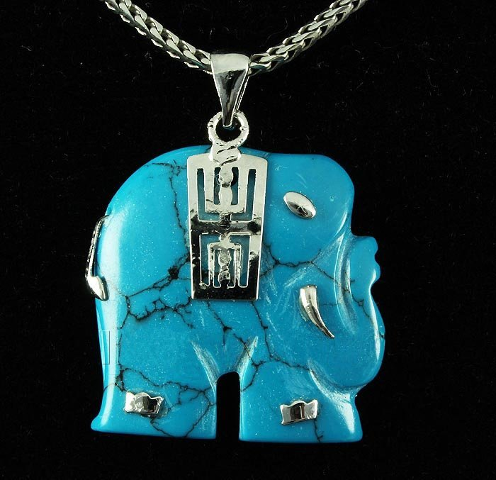 ELEPHANT TURQUOISE 26.64CTW SILVER PLATED PENDANT