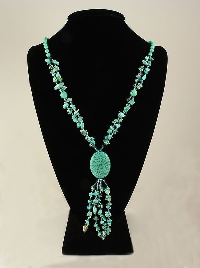 Gushing Sky Blue Turquoise 400.00ctw Beads Necklace