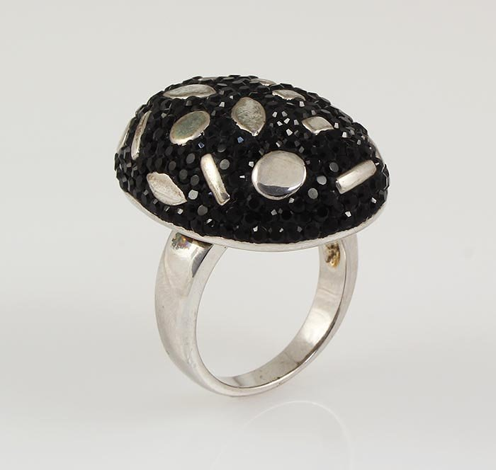 Statement Silver Ring with 8.00ctw Black Czech Crystal