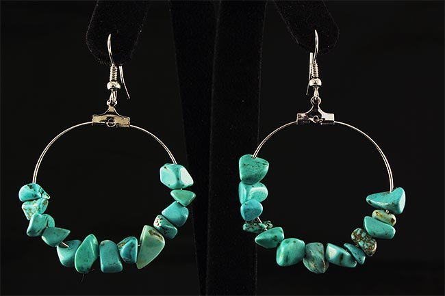 NATURAL 37.71CTW TURQUOISE HOOP SILVER EARRING
